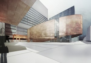 A 500-seat auditorium is housed in an expressive art form that will anchor phase 2 of the development.