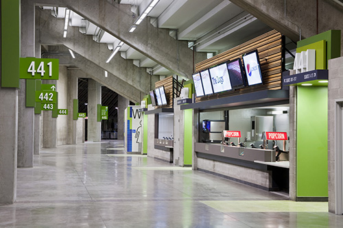 Renovated concourse at  BC Place