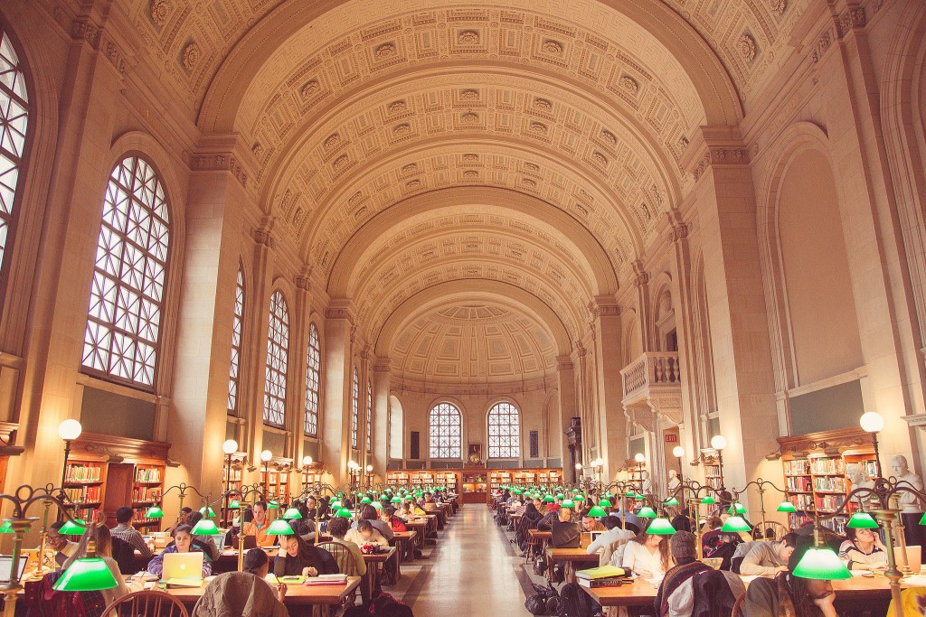 Boston Public Library's Reading room, designed by McKim, Mead and White. Photo by Tony Webster.