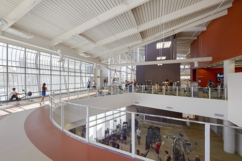 Interior view of California Polytechnic State University, San Luis Obispo's renovated recreation center