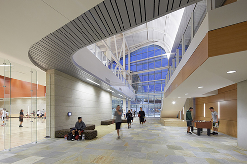 Interior view of updated Cal Poly State University, San Luis Obispo Recreation Center