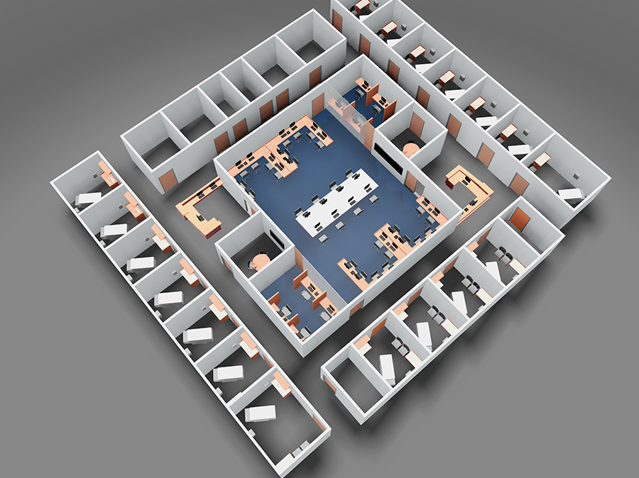 A floor plan reflecting emerging design strategies for ambulatory care teams.