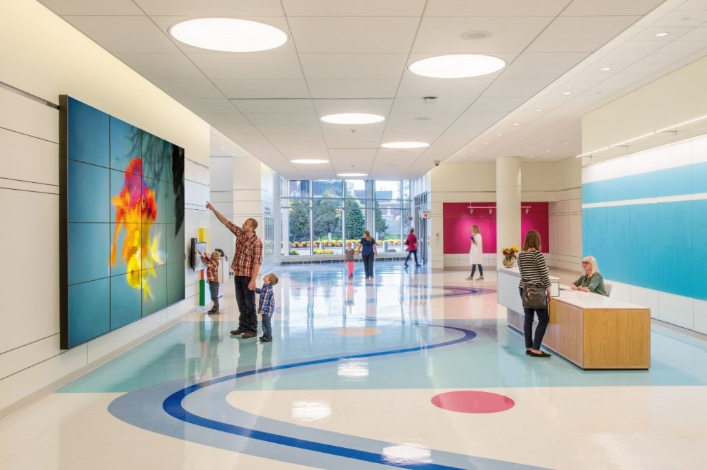 This 12 story 475000 sf hospital includes multiple bed floors with a rich array of family amenities each outfitted with layered lighting and flexible