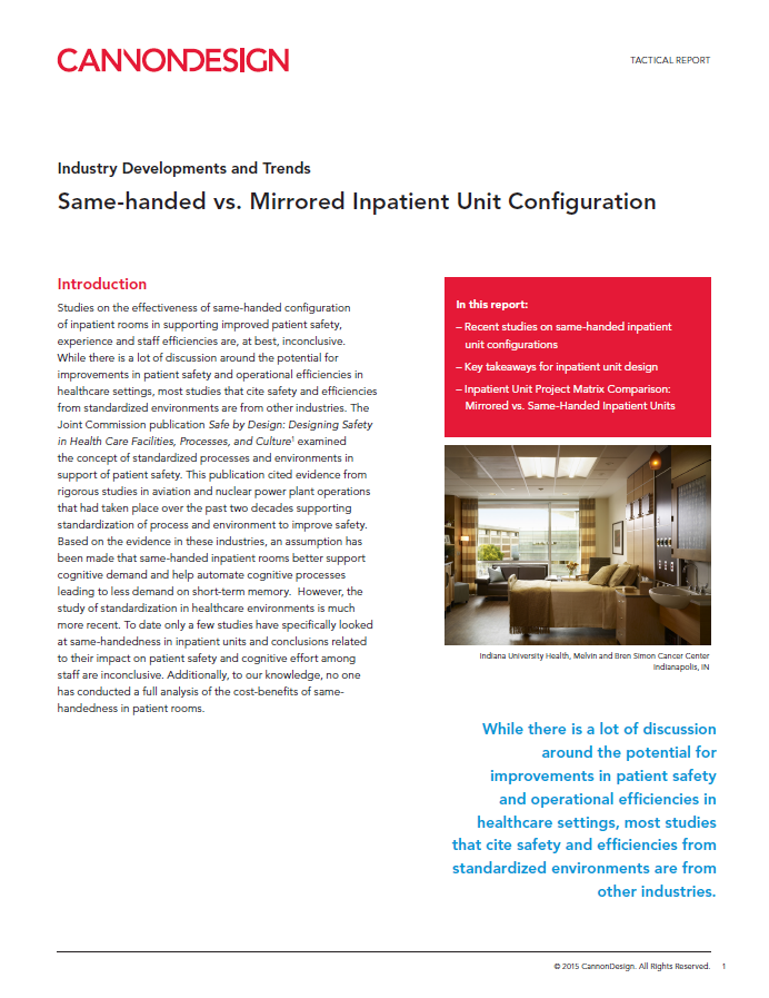 Same-handed vs. Mirrored Inpatient Unit Configuration