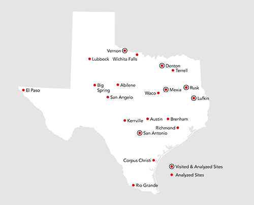 FIGURE 1: State Psychiatric Hospital and State Supported Living Center sites throughout the state of Texas.