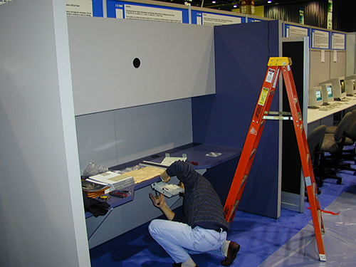Carlos at RSNA building the first custom digital reading workstation prototype