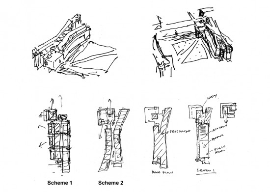 Design process sketches – development of two preliminary schemes