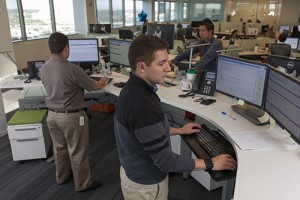Employees at Zurich test workplace environments as part of the company's workplace pilot efforts.